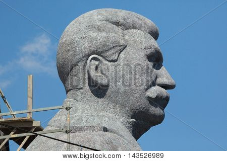PRAGUE, CZECH REPUBLIC - MAY 20, 2016: Huge head of Soviet dictator Joseph Stalin rising over Letna Park in Prague, Czech Republic, during the filming the new movie Monster.