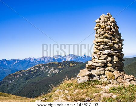 A landmark on the road in the mountains of the Appennines Tuscan-Emilian