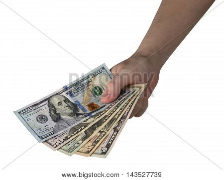 Hand Holding Of Dollar Bills. Isolated On White Background. Clipping Path Included