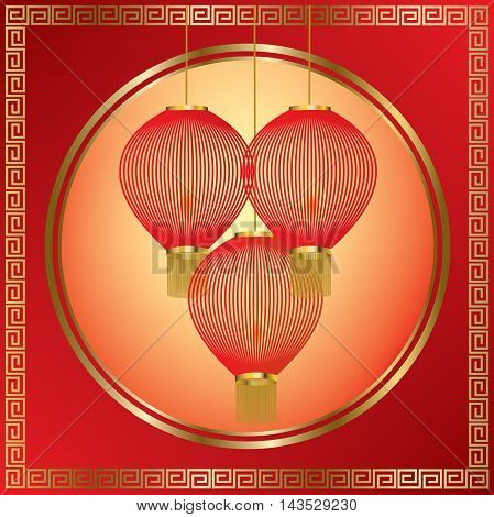 Red Chinese lanterns with golden border on red and orange background