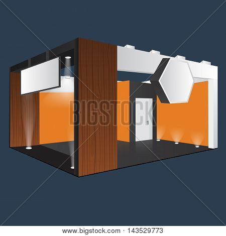 Creative exhibition stand display design with info board. Booth template. Corporate identity. Furniture Wooden material. Vector Mock up. Unique Trade booth template with beam light effect.