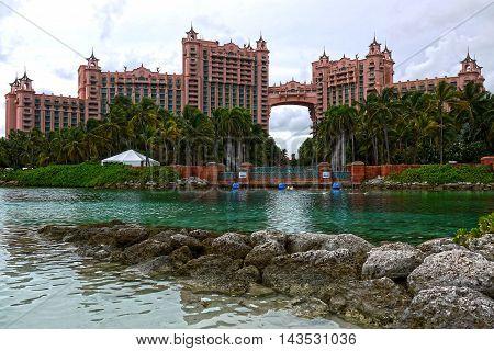 NASSAU,BAHAMAS- JANUARY 11: The Atlantis hotel resort in the Bahamas on January 11, 2016