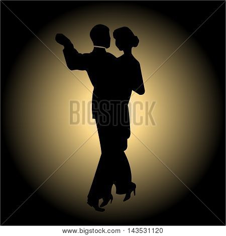 Dancing couple silhouette on a gradient background