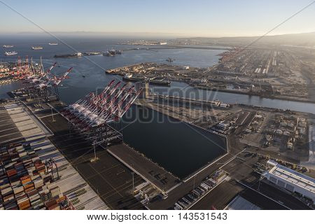 Los Angeles, California, USA - August 16, 2016:  Afternoon aerial view of Long Beach and Los Angeles Harbors in Southern California.