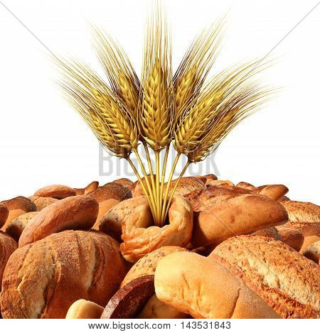 Wheat and bread with a variety of fresh baked goods with natural grains and oats as a food and agricultural symbol with 3D illustration elements isolated on a white background.