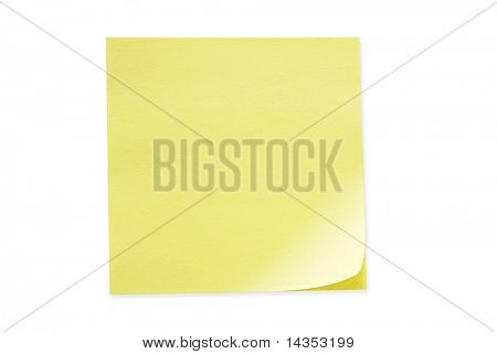 Blank yellow sticky note, curled at one edge.