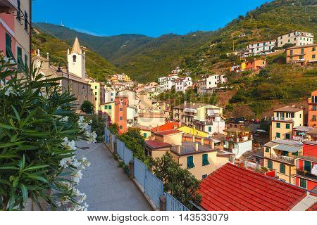 Aerial panoramic view of Riomaggiore fishing village in Five lands, Cinque Terre National Park, Liguria, Italy.