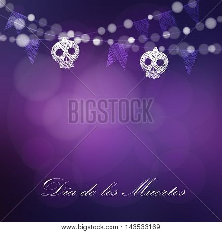 Dia de Los Muertos Day of the Dead or Halloween card invitation. String of lights sculls and party flags. Vector illustration background