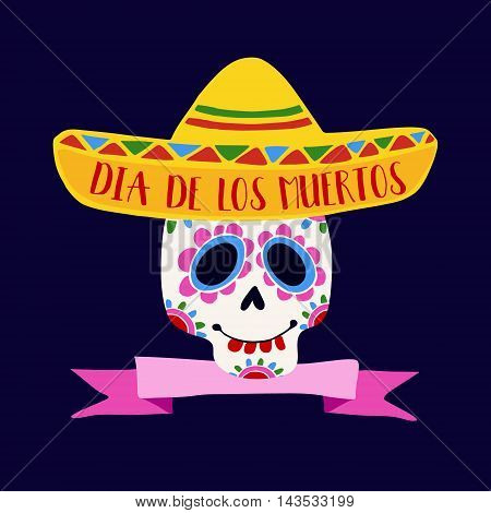Dia de Los Muertos greeting card invitation. Mexican Day of the Dead. Ornamental sugar skull sombrero hat. Hand drawn vector illustration background.