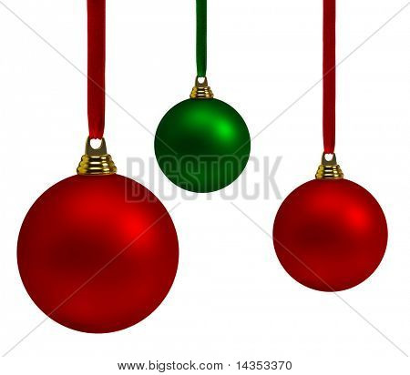 Vibrant red and green Christmas baubles, hanging on satin ribbon.