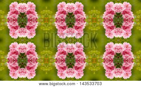 Flowers mirror pattern. Seamless floral background.