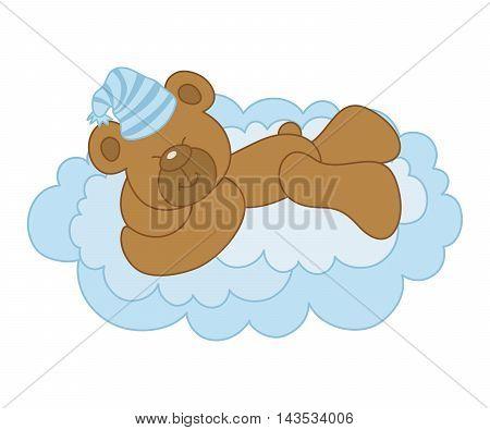 Vector cute bear  sleeping on a cloud - It's a Boy