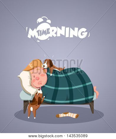 Daily Morning Life. Dogs trying to wake up owner. Vector illustration