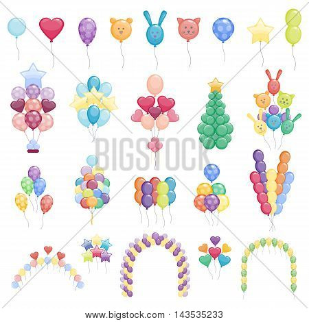 Color glossy balloons mega collection party vector illustration. Round entertainment balloons holiday festival happy gift. Balloons beautiful toy party day celebrate, isolated helium color carnival