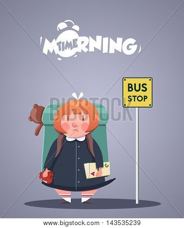 Daily Morning Life. Angry little girl waiting for school bus. Vector illustration