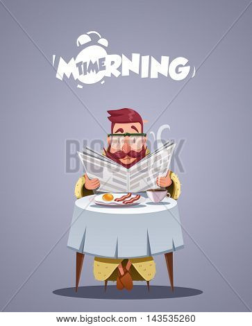 Daily Morning Life. young man having breakfast and reading a newspaper. Vector illustration