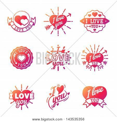 Vector I love You photo badges, modern lettering collection, inspirational text. Lovely text I love You follow your heart romantic type. I love You badge logo sign message decoration.