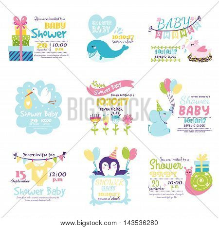 Baby shower design with cute woodland animals born arrival vector graphic. Party template vintage cute birth baby shower invitation. Welcome greeting baby shower invitation decoration celebration. poster