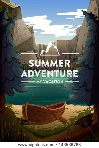 Travel and Tourism Poster. Natural Landscape With Holiday Camp Near a Lake. Vector.