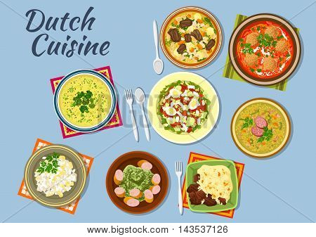 Dishes of dutch cuisine with salmon and egg salad, tomato soup with bitterballens, pea soup snert, stamppot potato with sausage, bean soup, diced beef with vegetables, green soup with herbs and meat salad with pineapple