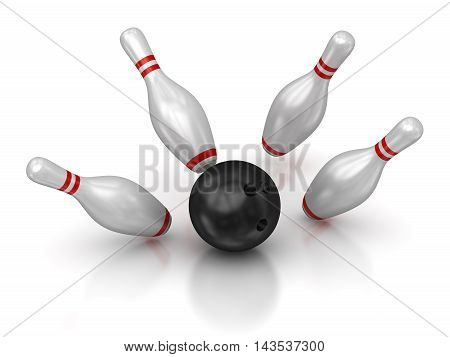 Bowling ball and skittles. 3d render and computer generated image.