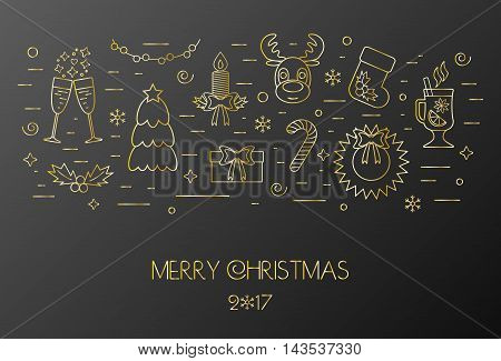 Black card for the Christmas and New Year. Decorated Christmas gold elements and attributes in a thin line for prints. Flat design. Vector illustration