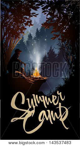 Traveler camping in forest in the mountains. Vector