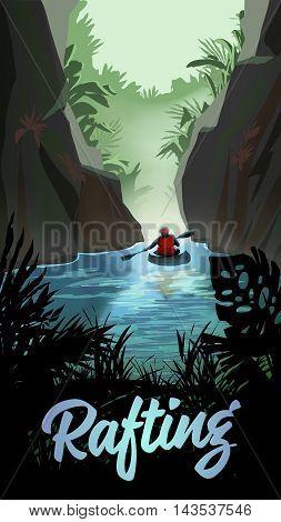 Man Kayaking On Mountain River. Vector Poster