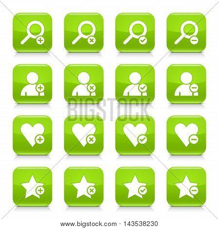 Green Additional Sign Square Icon Web Button
