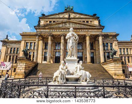 Schiller Statue In Front Of Konzerthaus In Berlin (hdr)