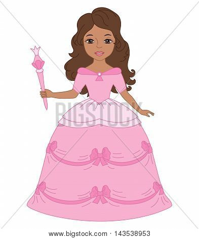 Vector African American princess with magic wand in pink dress