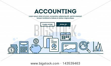Accounting concept header flat design thin line style vector illustration