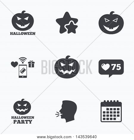 Halloween pumpkin icons. Halloween party sign symbol. All Hallows Day celebration. Flat talking head, calendar icons. Stars, like counter icons. Vector