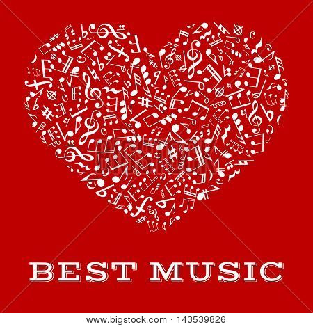 Music of your heart and harmony of love symbol with musical note, treble and bass clef, rest, chord and key signature arranged into a shape of a heart. Musical design