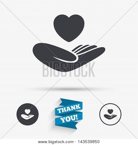 Life insurance sign. Hand holds human heart symbol. Health insurance. Flat icons. Buttons with icons. Thank you ribbon. Vector