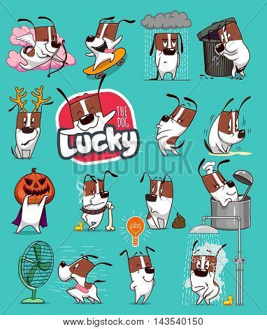 Sticker Collection of Emoji Cartoon Dog Emoticons. Vector Stock Illustrations