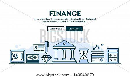 Finance concept header flat design thin line style vector illustration