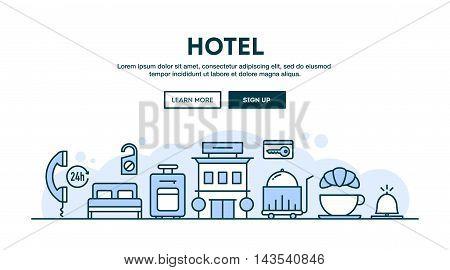 Hotel concept header flat design thin line style vector illustration