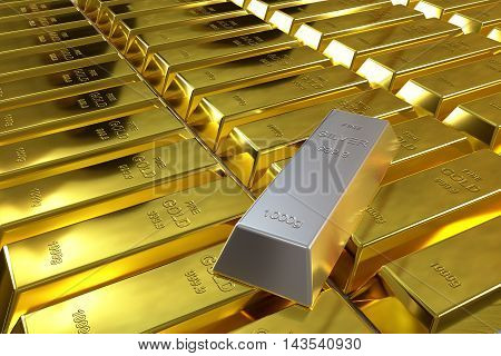 rows of rendered gold bars and one silver bar, 3d rendering