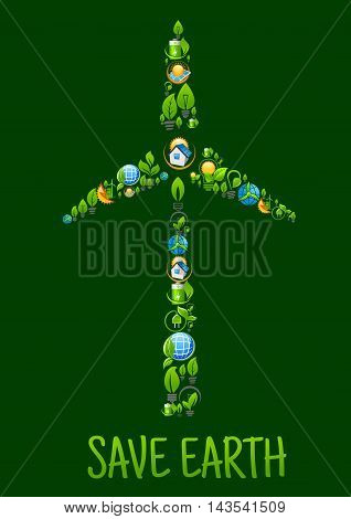 Eco power and green energy icons in a shape of tower and blades of wind turbine with cartoon symbols of batteries, globes and light bulbs with green plants and leaves, eco frienly houses with solar panels and eco cities with wind farm