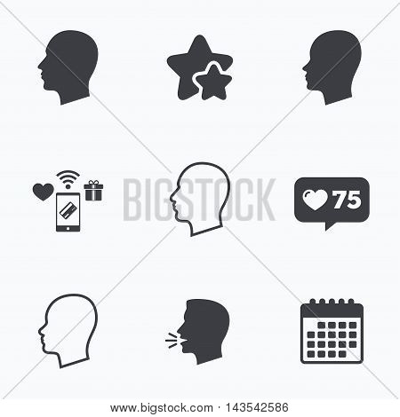 Head icons. Male and female human sign symbols. Flat talking head, calendar icons. Stars, like counter icons. Vector