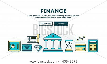 Finance colorful concept header flat design thin line style vector illustration