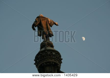 Statue Of Columbus In Barcelona.