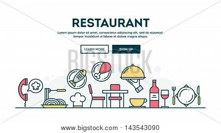 Restaurant colorful concept header flat design thin line style vector illustration