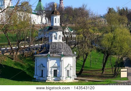 White stone Orthodox chapel of the seventeenth century near ancient monastery