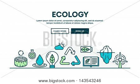 Ecology recycling environment sustainability colorful concept header flat design thin line style vector illustration