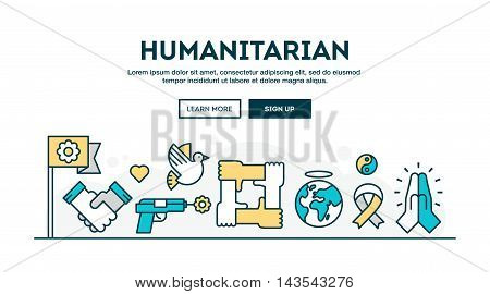 Humanitarian colorful concept header flat design thin line style vector illustration