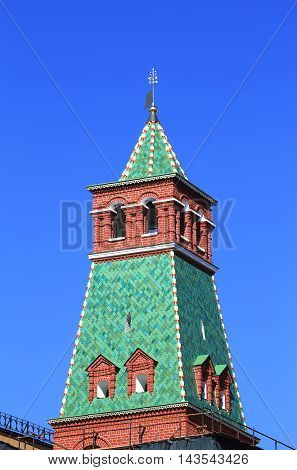 Moscow Kremlin wall tower built in the Byzantine style in the seventeenth century