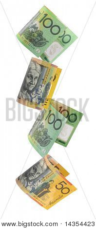 Australian money, cascading down.