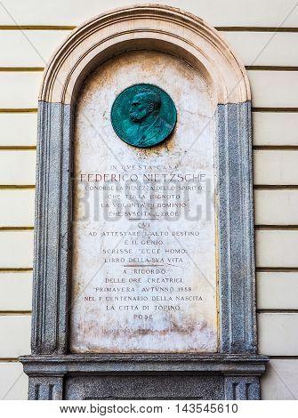 Nietzsche Memorial Plaque In Turin (hdr)